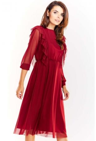 Bordowa Tiulowa Midi Sukienka z Falbankami