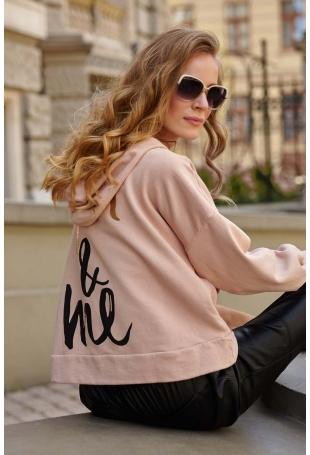 Bluza z Kapturem w Stylu Glamour -Ruda