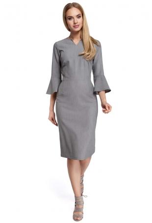 Szara Sukienka Ołówkowa Midi z Hiszpańskim Rękawkiem