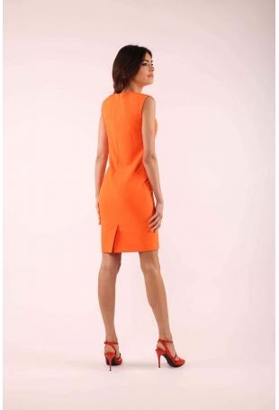 Pomarańczowa Elegancka Sukienka bez Rękawów o Dopasowanym Fasonie