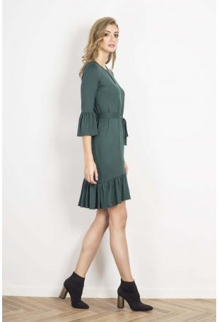 Zielona Urocza Prosta Sukienka z Falbankami