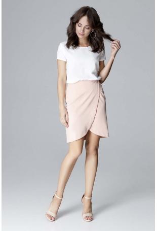 Różowa Elegancka Krótka Spódnica Kopertowa