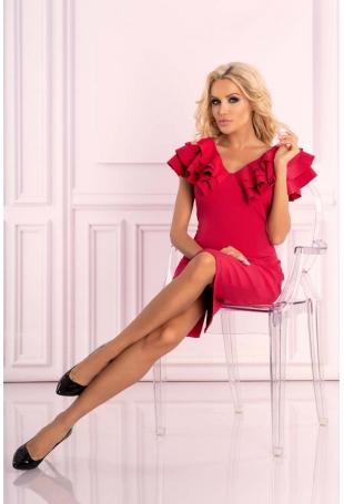 Malinowa Sukienka Wizytowo-Koktajlowa z Falbankami na Ramionach