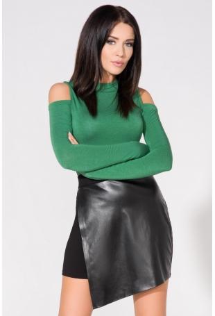 Zielona Bluzka Dopasowana Dzianinowa z Wyciętymi Ramionami