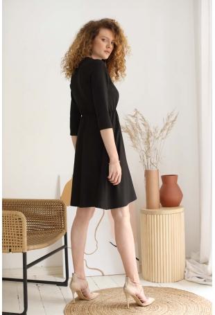 Rozkloszowana Sukienka w Serek - Czarna