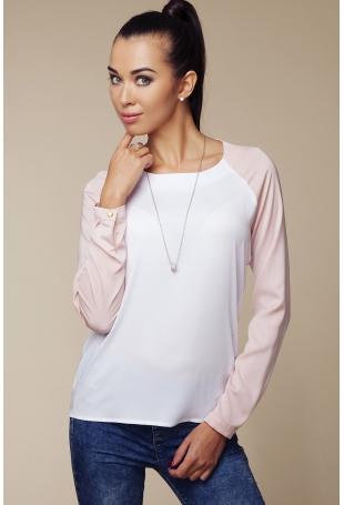 Dwubarwna  Bluzka z Długim Rękawem - Różowy&biały