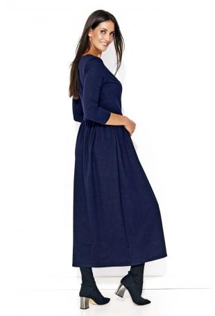 Granatowa Długa Sukienka z Kopertowym Dekoltem