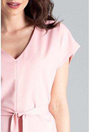 Różowa Sukienka w Serek z Krótkim Rękawem Przewiązana Paskiem