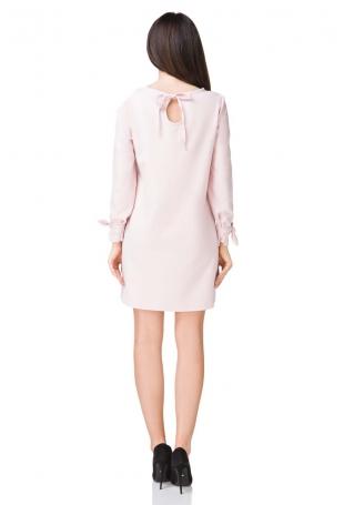 Jasnobeżowa Sukienka Wizytowa z Wiązaniami