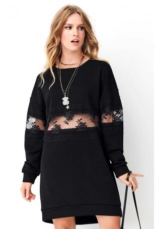 Czarna Luźna Dresowa Sukienka z Koronkową Wstawką