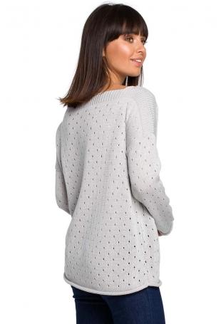 Szary Luźny Ażurowy Sweter