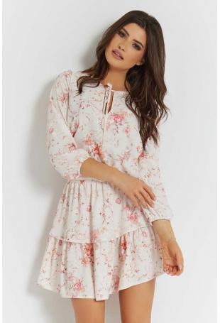 Zwiewna Sukienka w Kwiatki z Falbankami
