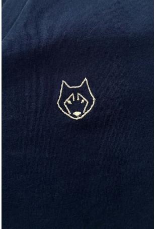 Koszula Nocna z Atłasową Wypustką - Granatowa
