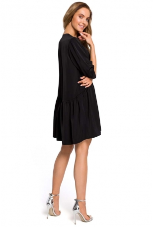 Czarna Oversizowa Sukienka Zapinana na Guziki