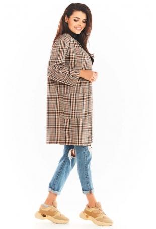Płaszcz w Kratę z Dużymi Kieszeniami - Brązowy