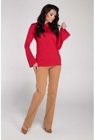 Czerwona Elegancka Bluzka z Rozkloszowanym Rękawem