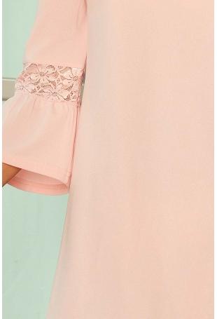 Różowa Sukienka Wizytowa z Koronką na Rękawie