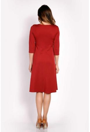 Bordo Sukienka Midi z Kieszeniami