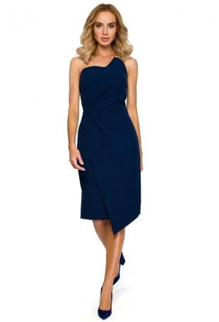 Granatowa Wieczorowa Asymetryczna Sukienka z Odkrytymi Ramionami