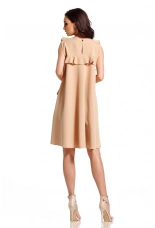 Beżowa Elegancka Sukienka bez Rękawów z Falbankami