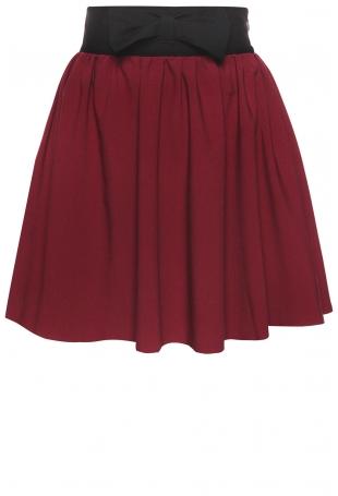 Rozkloszowana Bordowa Spódnica z Kokardą