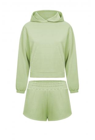 Komplet Dresowy Bluza Kangurka + Szorty - Limonkowy