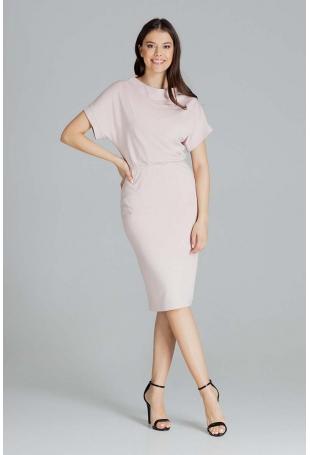 Sukienka Midi z Krótkim Kimonowym Rękawem - Różowa