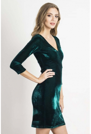 Zielona Dopasowana Sukienka Welurowa z Dekoltem V