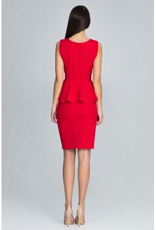 Czerwona Wizytowy Komplet Bluzka z Falbanką + Ołówkowa Spódnica