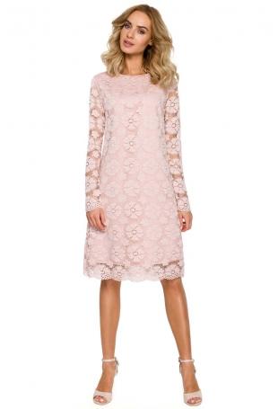 Różowa Wizytowa Trapezowa Sukienka z Koronki