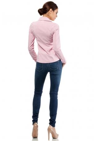 Malinowa Klasyczna Koszula w Delikatny Wzór