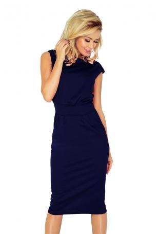 Granatowa Sukienka Elegancka Midi z Zaznaczoną Talią