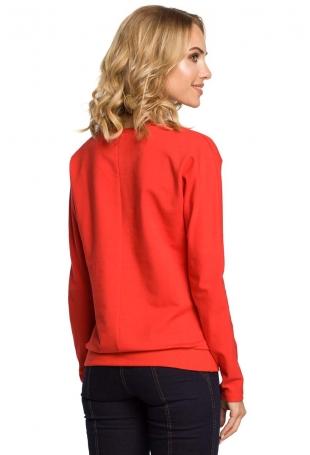 Czerwona Bluza Sportowa z Asymetryczną Falbanką