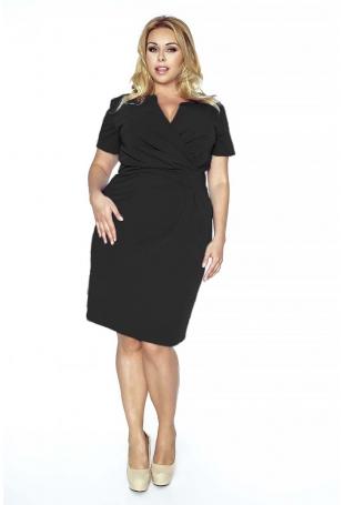 Czarna Elegancka Sukienka Plus Size z Założeniem Kopertowym