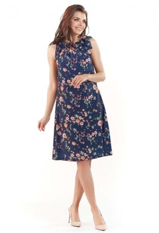 Granatowa Kobieca Sukienka w Kwiatowy Wzór Kokardą na Ramieniu