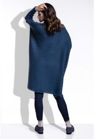 Granatowy Sweter Oversizowy z Luźnym Golfem