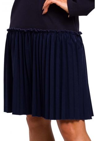 Granatowa Stylowa Sukienka Dzianinowa z Plisowanym Dołem