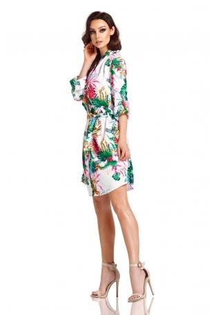 Biała Rozkloszowana Sukienka Kopertowa w Kwiaty