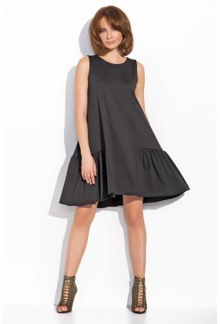 Czarna Kobieca Rozkloszowana Sukienka bez Rękawów