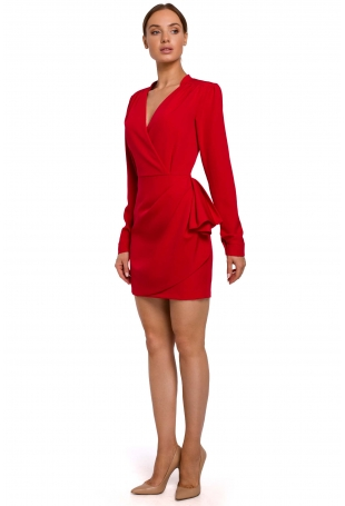 Czerwona Krótka Sukienka z Drapowaną Falbanką na Boku