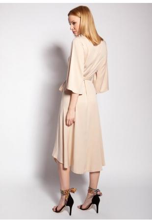 Kopertowa Sukienka z Rozkloszowanym Rękawem - Beżowa