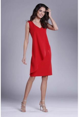 Czerwona Dopasowana Sukienka bez Rękawów z Asymetryczną Falbaną