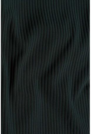 Ołówkowa Spódnica z Prążkowanej Dzianiny - Zielona