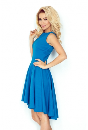 Kobaltowa Sukienka bez Rękawów z Rozkloszowanym Asymetrycznym Dołem