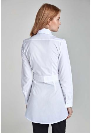Biała  Długa Koszula z Zakładkami