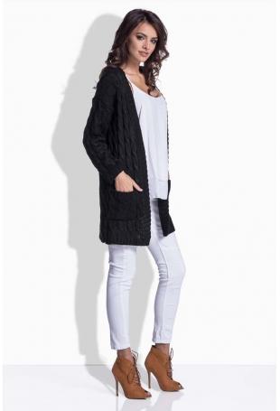 Czarny Sweter Długi bez Zapięcia w Warkocze