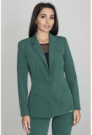 Zielony Żakiet Elegancki Taliowany na Jeden Guzik