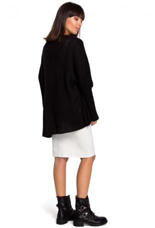 Czarny Asymetryczny Oversizowy Sweter z Kieszonką
