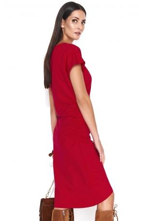 Czerwona Asymetryczna Sukienka z Marszczeniem na Boku