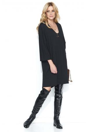 Czarna Oversizowa Sukienka z Szerokim Rękawem ¾